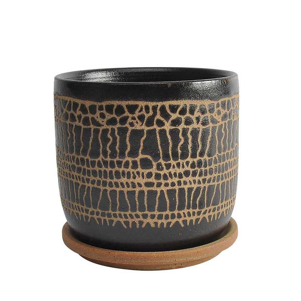 """Picture of Glazed 6"""" Planter with Saucers - Black"""