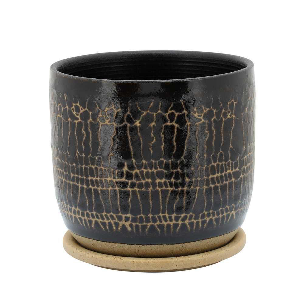 """Picture of Glazed 8"""" Planter with Saucers - Black"""