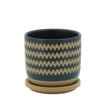 """Picture of Zig-Zag 5"""" Planter with Saucer - Teal"""