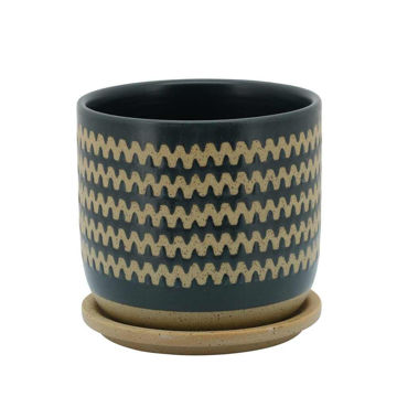 """Picture of Zig-Zag 6"""" Planter with Saucer - Teal"""