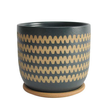 """Picture of Zig-Zag 8"""" Planter with Saucer - Teal"""