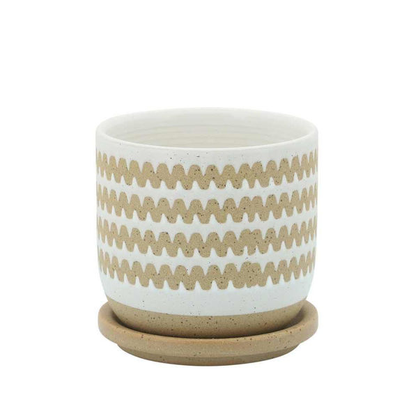 """Picture of Zig-Zag 5"""" Planter with Saucer - White"""