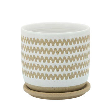 """Picture of Zig-Zag 6"""" Planter with Saucer - White"""