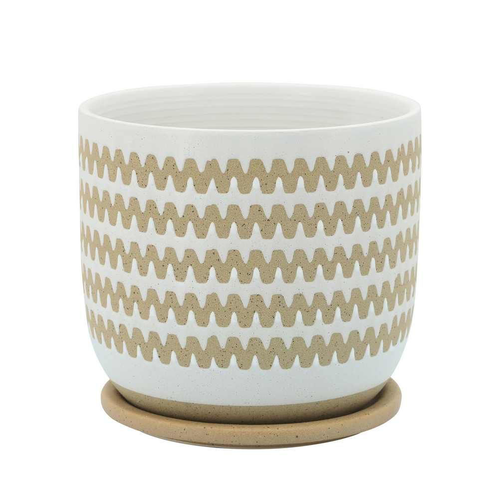 """Picture of Zig-Zag 8"""" Planter with Saucer - White"""