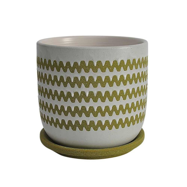 """Picture of Zig-Zag 6"""" Ceramic Planter with Saucer - Olive"""