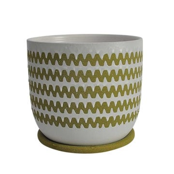 """Picture of Zig-Zag 8"""" Ceramic Planter with Saucer - Olive"""