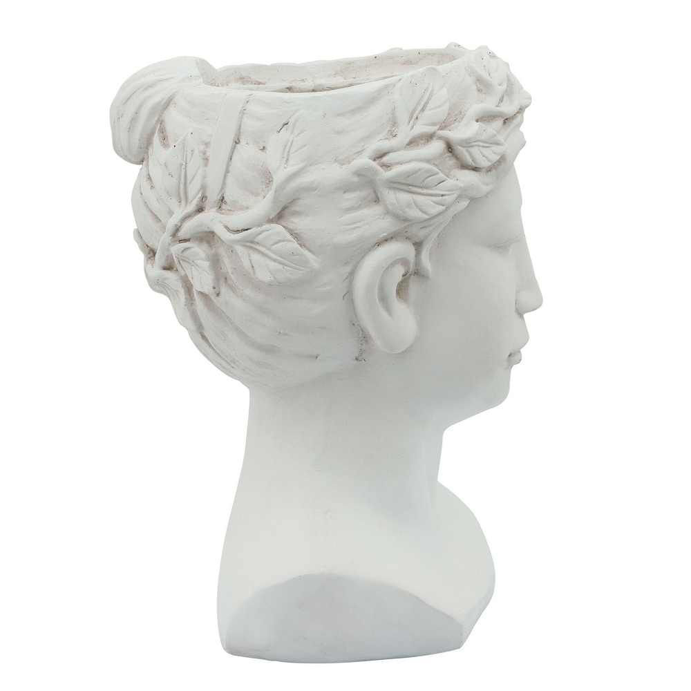"""Picture of Head 9"""" Lady Resin Planter - White"""