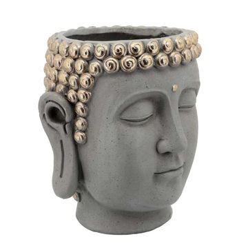 """Picture of Head 13"""" Buddha Resin Planter - Gray"""