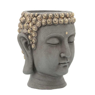 """Picture of Head 10"""" Buddha Resin Planter - Gray"""