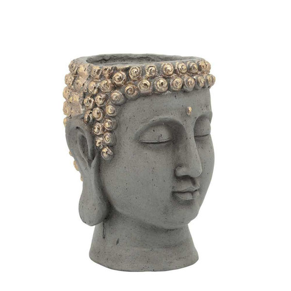 """Picture of Head 7"""" Buddha Resin Planter - Gray"""