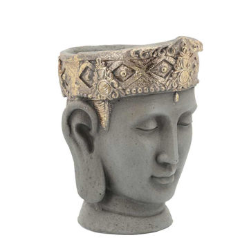 """Picture of Head 7"""" Buddha Resin Planter with Crown - Gray"""