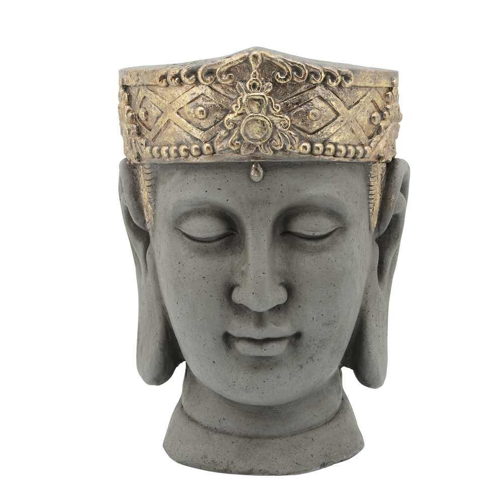 """Picture of Head 10"""" Buddha Resin Planter with Crown - Gray"""