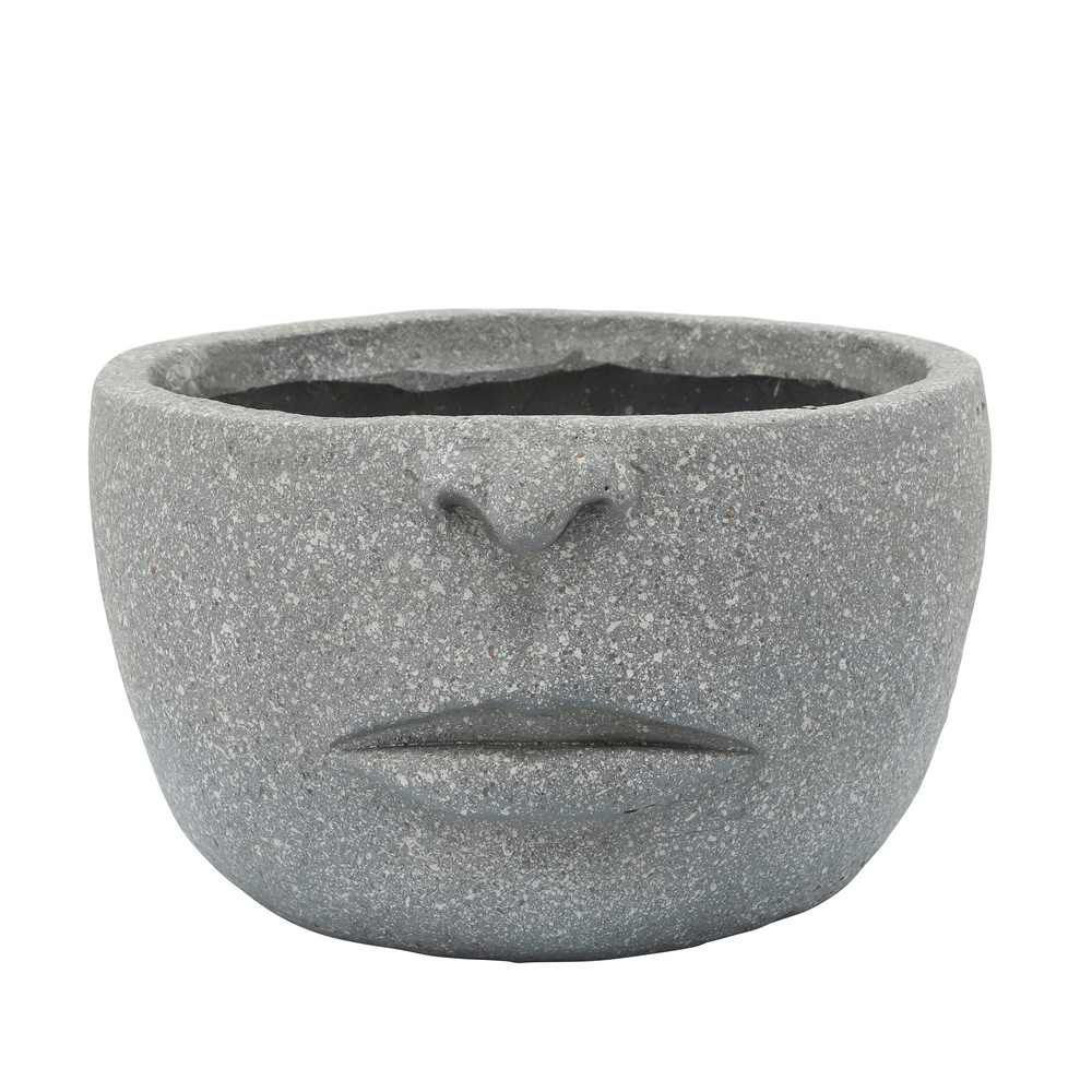 """Picture of Half Face 12"""" Resin Planter - Cement"""
