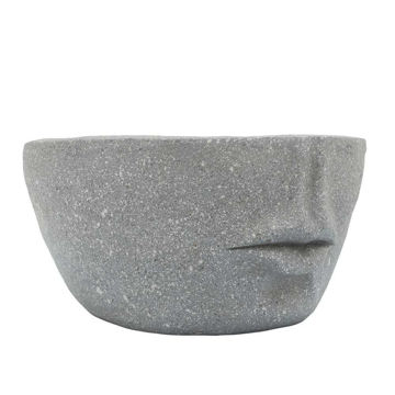 """Picture of Half Face 12"""" Slanted Resin Planter - Cement"""