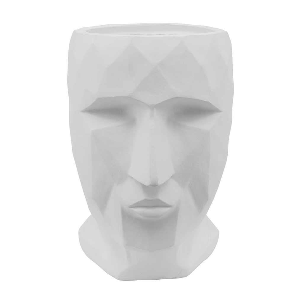 """Picture of Face 15"""" Resin Planter - White"""