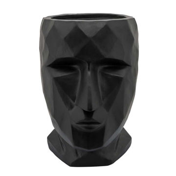 """Picture of Face 11"""" Resin Planter - Black"""
