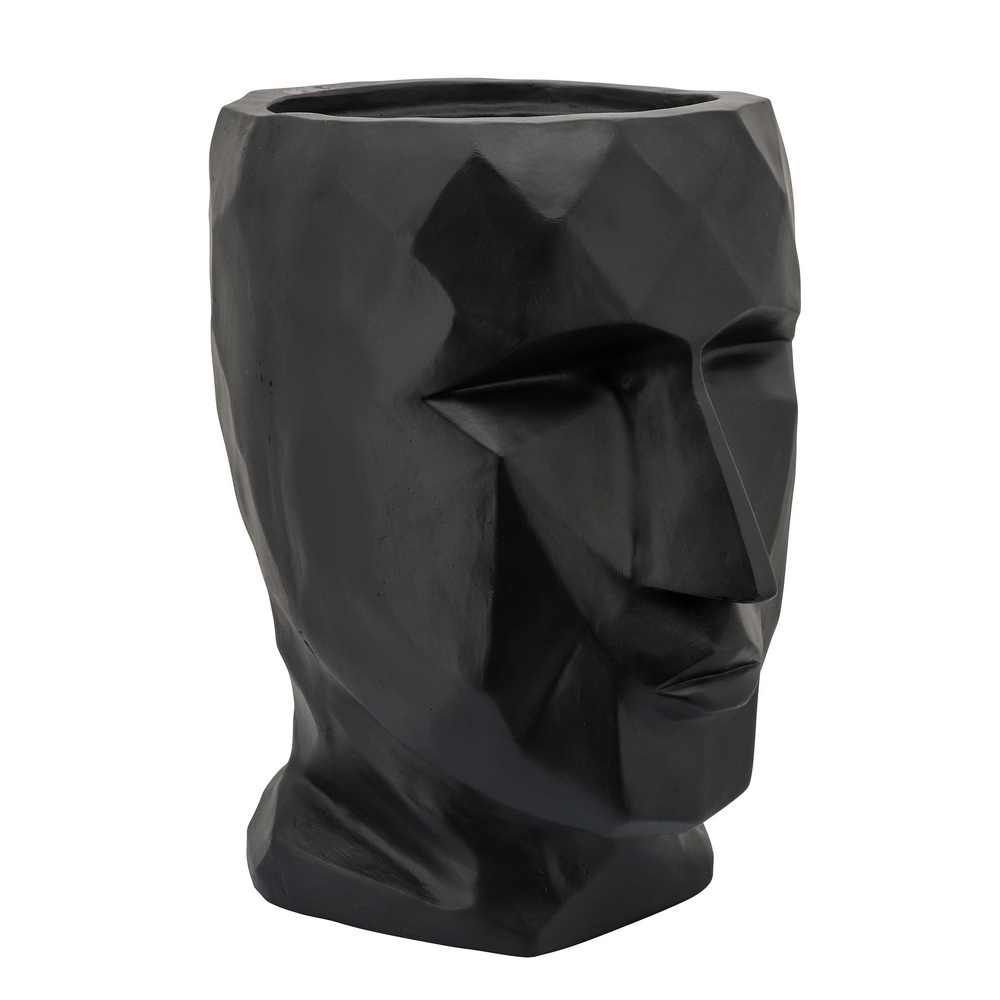 """Picture of Face 15"""" Resin Planter - Black"""