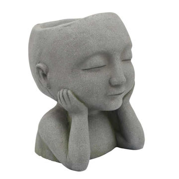 """Picture of Child 9"""" Closed Eyed Resin Planter - Gray"""
