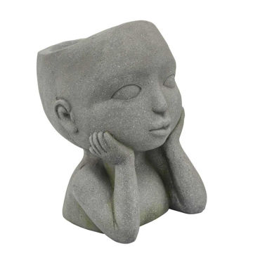 """Picture of Child 9"""" Open Eyed Resin Planter - Gray"""