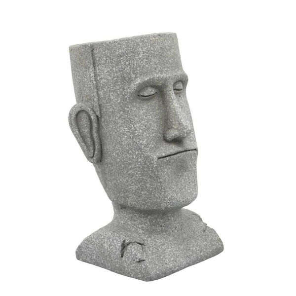 """Picture of Head 10"""" Resin Planter - Gray"""