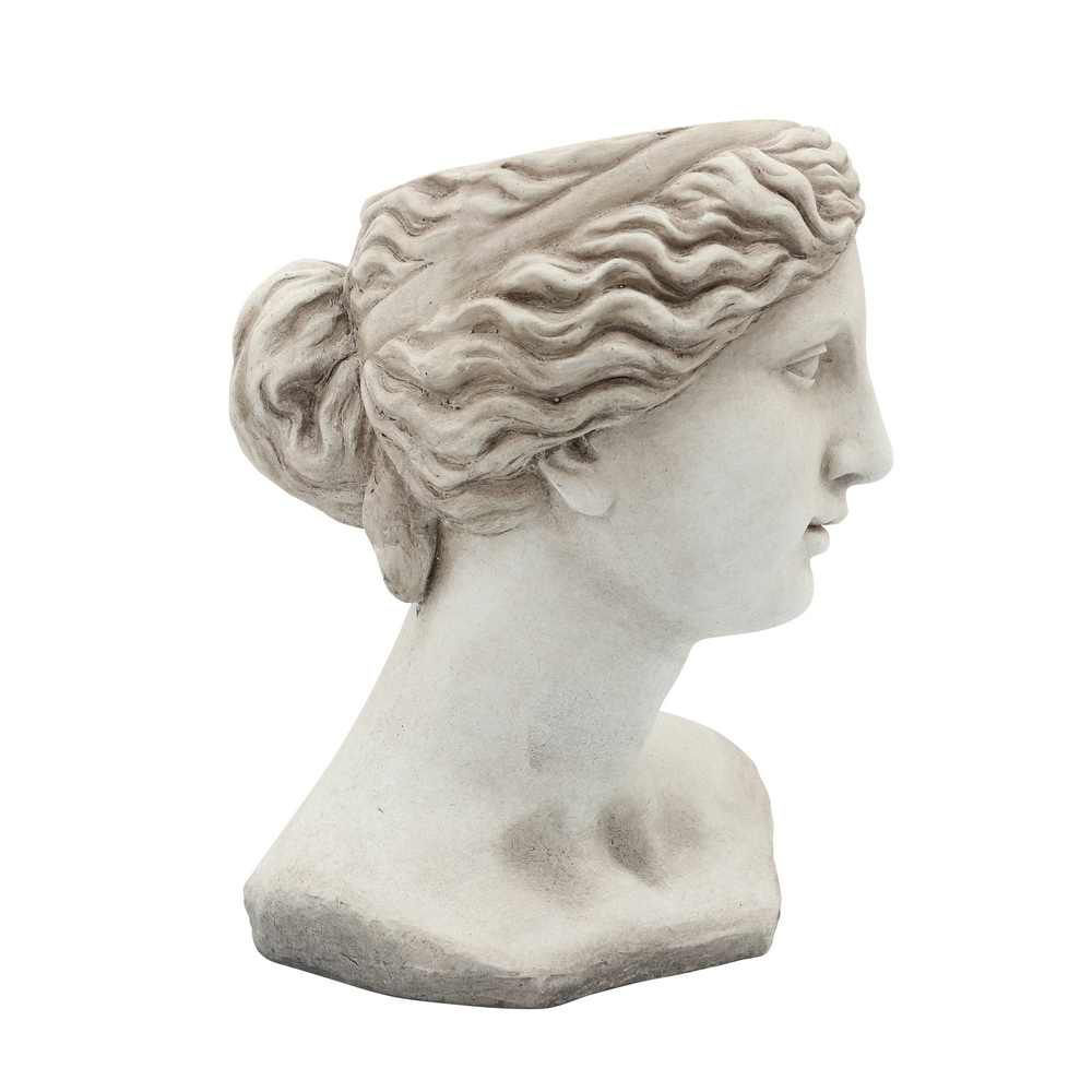 """Picture of Head 11"""" Lady Resin Planter - Antique White"""
