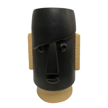 """Picture of Face 10"""" Dia Comic Resin Planter - Black"""
