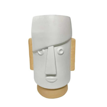 """Picture of Face 10"""" Dia Comic Resin Planter - White"""