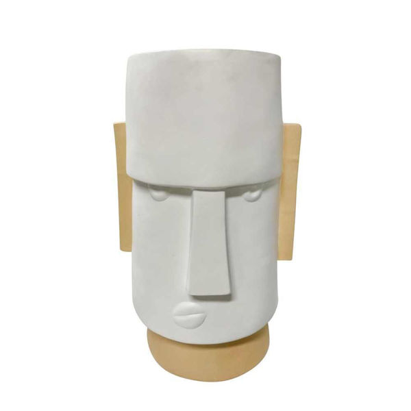 """Picture of Face 10"""" Dia Angry Comic Resin Planter - White"""