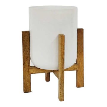 """Picture of Metal 11"""" Planter with Wood Stand - White"""