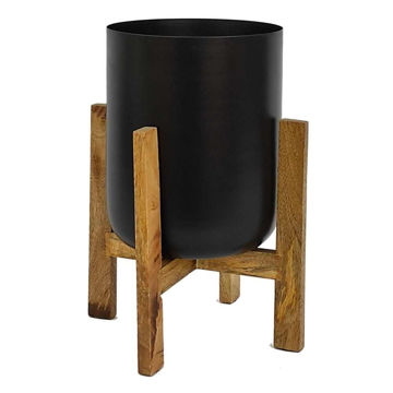 """Picture of Metal 11"""" Planter with Wood Stand - Black"""