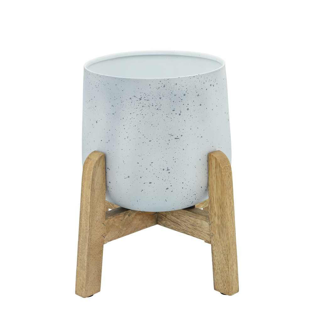 """Picture of Metal 9"""" - 10"""" - 12"""" Planter with Wood Stand - Set of 3 - White"""