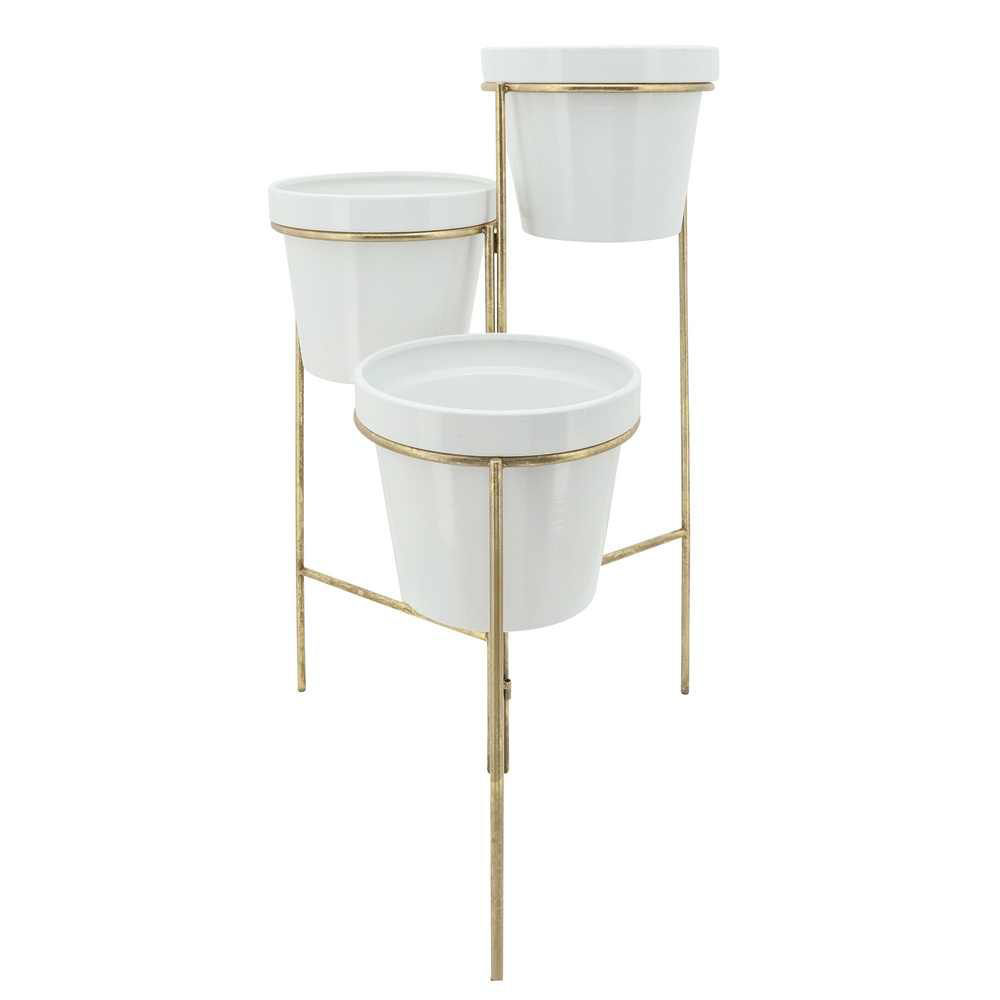 Picture of Metal 3 - Layered Planters - White