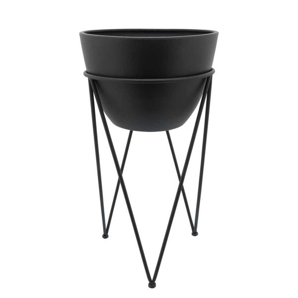 """Picture of Metal 14"""" Planter in Stand - Black"""