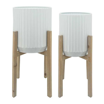 Picture of Ridged Planters in Wood Stand - Set of 2 - White