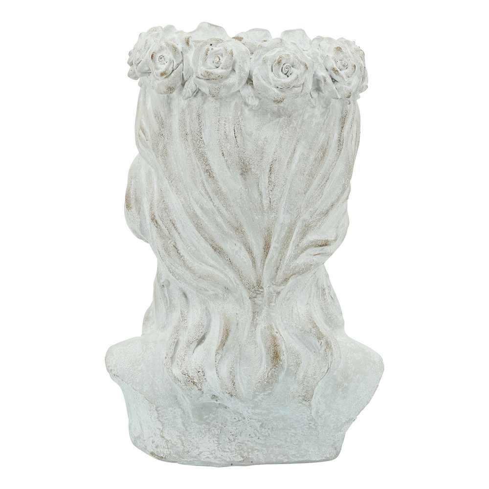 """Picture of Lady Head 10"""" with Flower Resin Planter - Antique"""