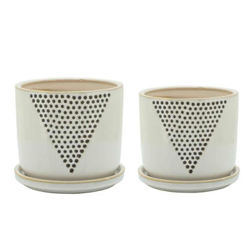 """Picture of Dots 5"""" and 6"""" Triangle Pattern Planter - Set of 2"""