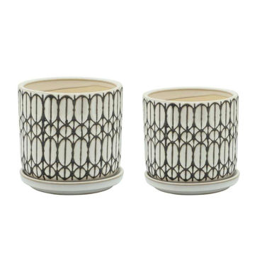 """Picture of Tribal 5"""" and 6"""" Planter with Saucer - Set of 2 - White"""
