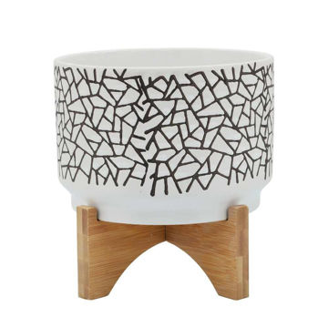 """Picture of Crackled 7"""" Planter with Wood Stand - White"""