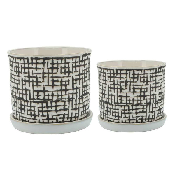 """Picture of Mesh 6"""" and 8"""" Planter with Saucer - Set of 2"""