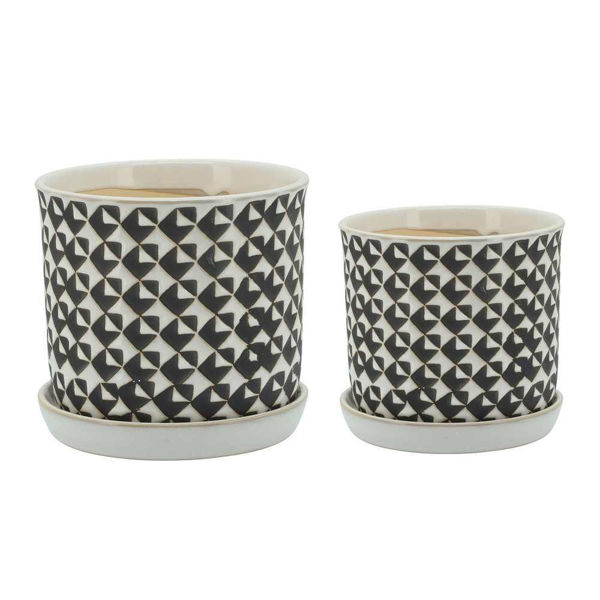 """Picture of Houndstooth 6"""" and 8 """" Planter with Saucer - Set of 2"""