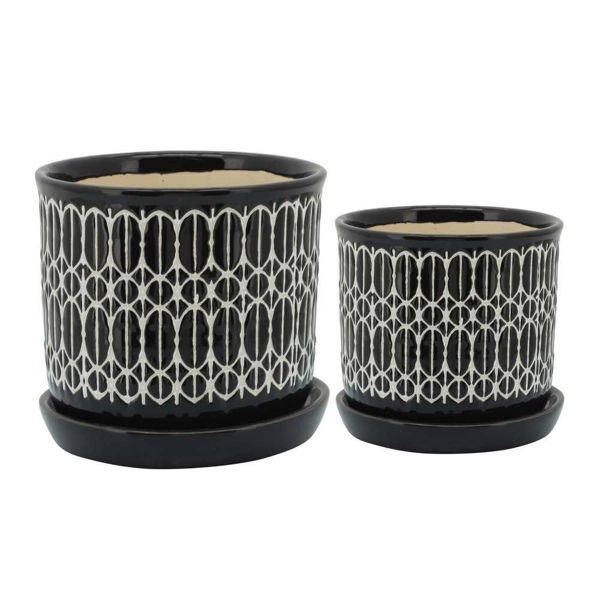 """Picture of Tribal 6"""" and 8"""" Planter with Saucer - Set of 2 - Black"""
