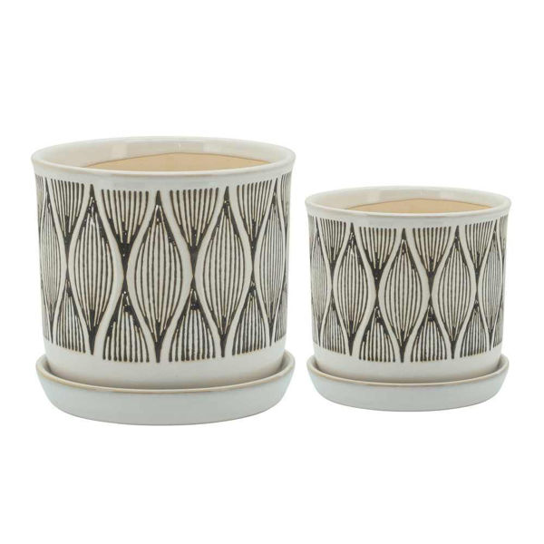 """Picture of Swirly Line 6"""" and 8"""" Planter with Saucer - Set of 2"""