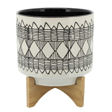 """Picture of Aztec 11"""" Ceramic Planter on Wooden Stand - Gray"""