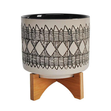 """Picture of Aztec 8"""" Ceramic Planter on Wooden Stand - Gray"""