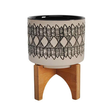 """Picture of Aztec 5"""" Ceramic Planter on Wooden Stand - Gray"""