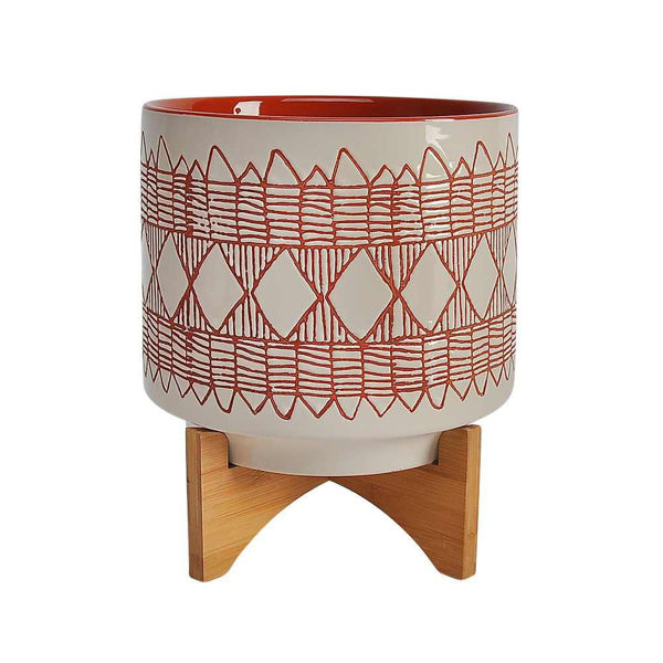 "Picture of Aztec 11"" Ceramic Planter on Wooden Stand - Orange"