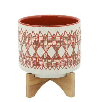 "Picture of Aztec 8"" Ceramic Planter on Wooden Stand - Orange"
