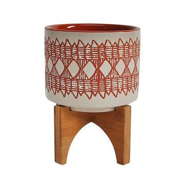 "Picture of Aztec 5"" Ceramic Planter on Wooden Stand - Orange"