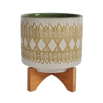 """Picture of Aztec 11"""" Ceramic Planter on Wooden Stand -Olive"""