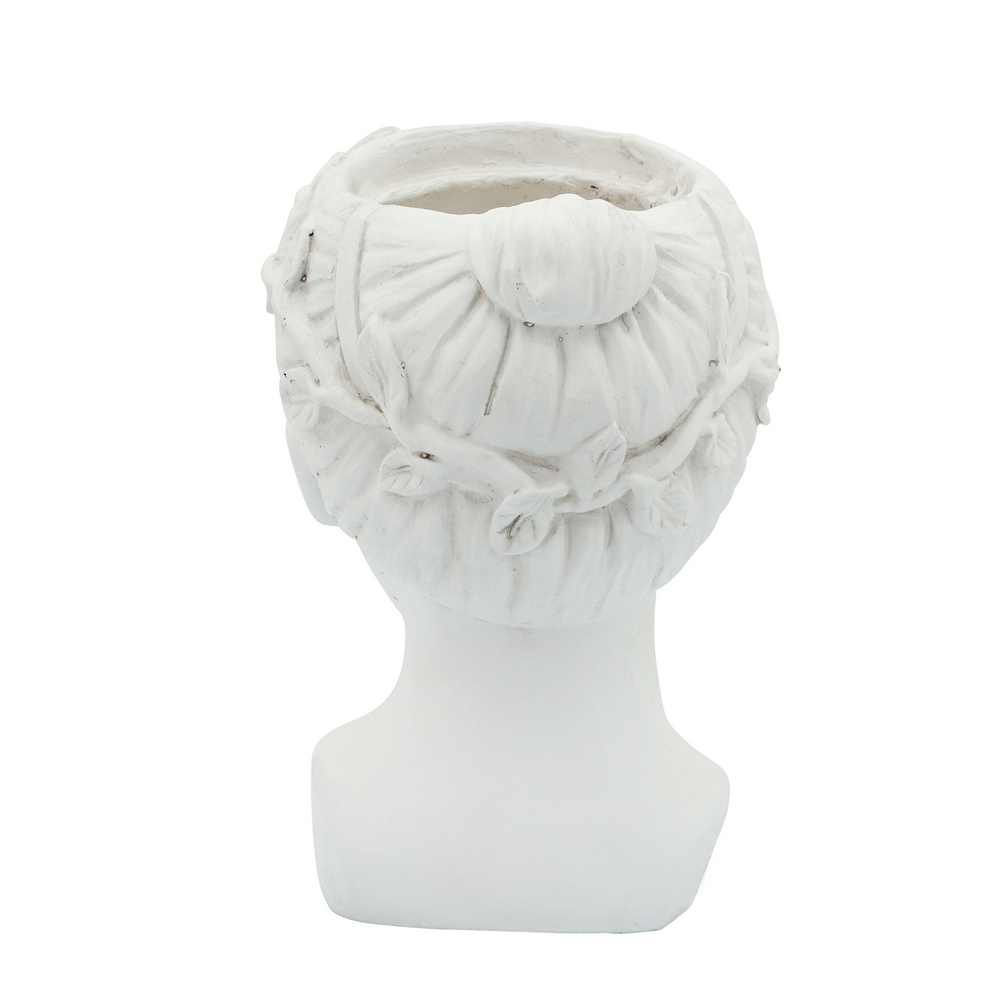 """Picture of Head 7"""" Lady Resin Planter - White"""